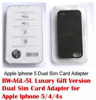 BW-AGL-5L Luxury Gift version Dual Sim Card Adapter for Apple Iphone 5/4/4S