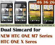 BW-3GL-HTC .Dual Sim Card Adapter for New HTC ONE M7 Series(including 801e,801n,801s etc) and HTC ONE X Series(including X,X+,XL,XL+...), Two Simcards Holder .Support 3G WCDMA 2G GSM