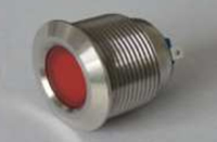 Metal LED Indicator Light,22mm Hole Installation size, 2 Terminals (2x Plug-in Foot) , Material of Brass. Flat Head.