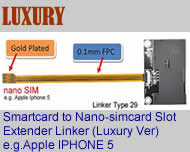 Linker Type 29 Universal Big Card (Smartcard) Extender to Nano-simcard ,Luxury Version. The Transfer Unit from BIG CARD (Smartcard) to Nano-Simcard Slot Tray as Apple Iphone 5(Free Shipping via Trackable Registered Airmail to Worldwide Area)