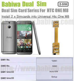 BW-AHM-05H .Dual Sim Card Adapter for New HTC ONE M8 Series(All New HTC One,HTC All New One etc), Two Simcards Holder .Support 3G WCDMA 2G GSM