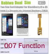 BW-2ZQ-05K .Dual Sim Card Adapter for Universal Blackberry Z3 and Q5 Series Phone with 007 Function(dial number to change simcards), Two Simcards Holder .Support 4G HSDPA 3G WCDMA 2G GSM