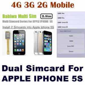 (2 Simcard for Apple Iphone 5S) Genuine Apple Iphone 5S Dual Sim Card Adapter ,Specially Molded ...
