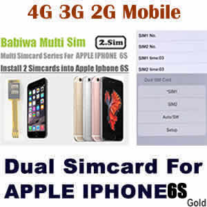 Babiwa series Genuine Apple Iphone 6S gold Dual Sim Card Adapter ,Specially Molded Gold Nano-Sim Tray(easy installation).Must-have Accessory for Apple Iphone 6S