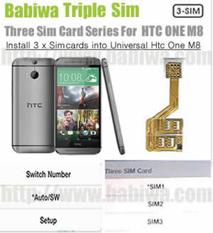 Triple Sim Card Adapter for New HTC ONE M8