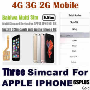 Babiwa series Genuine Apple Iphone 6S Plus gold Triple Sim Card Adapter ,Specially Molded gold Nano-Sim Tray (easy installation).Must-have Accessory for Apple Iphone 6S Plus