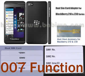 BW-2BZ-05K .Dual Sim Card Adapter for Universal Blackberry Z10 and Z30 Series Phone with 007 Function(dial number to change simcards), Two Simcards Holder .Support 4G HSDPA 3G WCDMA 2G GSM