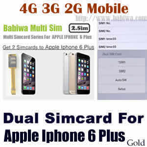 Babiwa series Dual Sim Card Adapter for Apple IPHONE 6 Plus Gold BW-AGL-61H gold