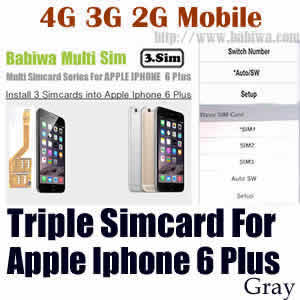 Babiwa series Triple Sim Card Adapter for Apple IPHONE 6 Plus Space Gray BW-MGL-61H gray