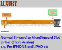 Linker Type 11S Normal Simcard to Micro-simcard Slot Convertor Linker (Luxury Short Version, e.g. for Apple Iphone 4/4s IPAD etc)