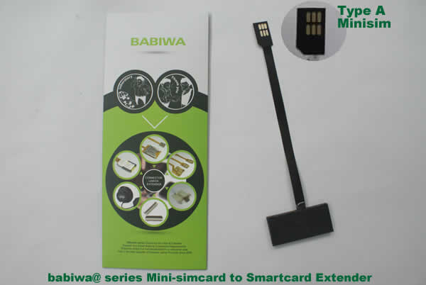 Babiwa@ No.3 Universal Mini-simcard to Smartcard(Big-simcard) Extension Cable.Support Any devices (brands,models) using Mini simcard in Type A Bevel Direction.also called Smartcard tester on Mini-simcard holder, Mini Simcard to Smartcard Extension Cable, Mini Simcard to Smartcard Extender, Mini Simcard Connector to Smartcard Extender .Universal Mini Simcard Jack to Smartcard Linker,Extender of Mini Simcard Slot to Bigcard,Linker of Mini Simcard Socket to Smartcard Holder,Extender for Mini Simcar