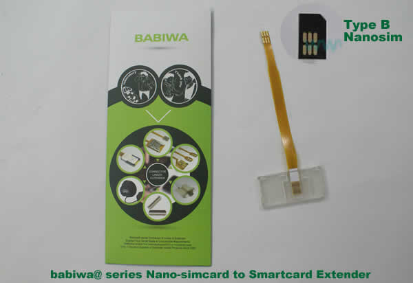 Babiwa@ No.3Z Universal Nano-simcard to Smartcard(Big-simcard) Extension Cable.Support Any devices (brands,models) using Nano simcard in Type B Bevel Direction.also called Smartcard tester on Nano-simcard holder, Nano Simcard to Smartcard Extension Cable, Nano Simcard to Smartcard Extender, Nano Simcard Connector to Smartcard Extender .Universal Nano Simcard Jack to Smartcard Linker,Extender of Nano Simcard Slot to Bigcard,Linker of Nano Simcard Socket to Smartcard Holder,Extender for Nano Simca