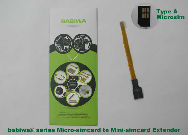 Babiwa@ No.9 Universal Micro-simcard to Minisimcard (microsimcard,nanosimcard) Extension Cable.Support Any devices (brands,models) using Micro simcard in Type A Bevel Direction.also called Micro Simcard Extension Cable,Micro Simcard Linker,Micro Simcard Connector Extender.Universal Micro Simcard Jack Extension Cable,Extender of Micro Simcard Slot,Linker of Micro Simcard Socket,Extender for Micro Simcard Holder.(Free Shipping via Trackable Registered Airmail to Worldwide Area WWW.BABIWA.COM)