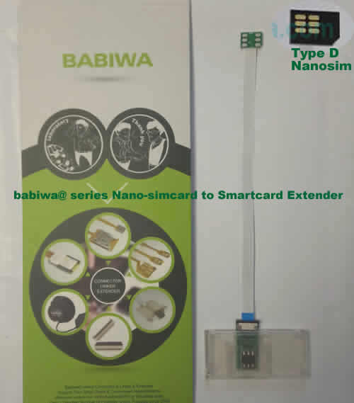 Babiwa@ No.33D Universal Nano-simcard to Smartcard(Big-simcard) Extension Cable.Support Any devices (brands,models) using Nano simcard in Type D Bevel Direction.also called Smartcard tester on Nano-simcard holder, Nano Simcard to Smartcard Extension Cable, Nano Simcard to Smartcard Extender, Nano Simcard Connector to Smartcard Extender .Universal Nano Simcard Jack to Smartcard Linker,Extender of Nano Simcard Slot to Bigcard,Linker of Nano Simcard Socket to Smartcard Holder,Extender for Nano Simc