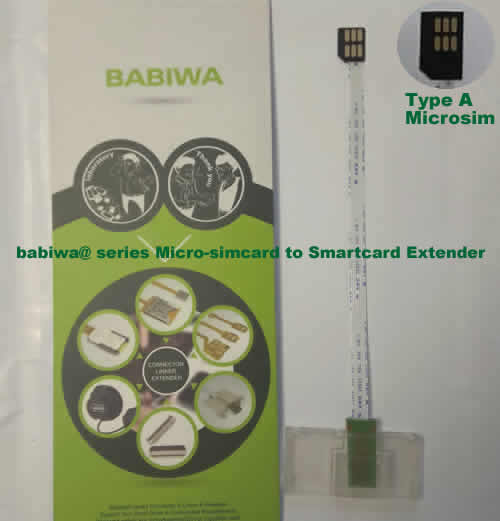Babiwa@ No.34A Universal Micro-simcard to Smartcard(Big-simcard) Extension Cable.Support Any devices (brands,models) using Micro simcard in Type A Bevel Direction.also called Smartcard tester on Micro-simcard holder, Micro Simcard to Smartcard Extension Cable, Micro Simcard to Smartcard Extender, Micro Simcard Connector to Smartcard Extender .Universal Micro Simcard Jack to Smartcard Linker,Extender of Micro Simcard Slot to Bigcard,Linker of Micro Simcard Socket to Smartcard Holder,Extender for