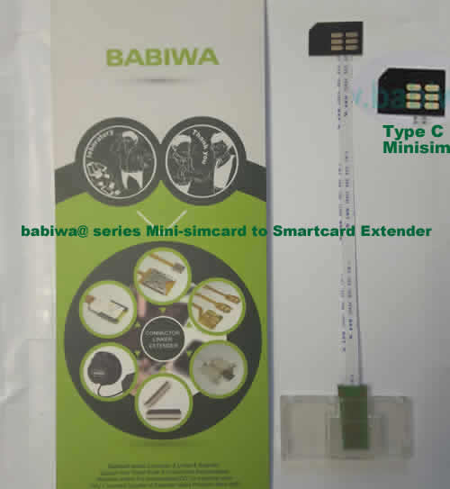 Babiwa@ No.35C Universal Mini-simcard to Smartcard(Big-simcard) Extension Cable.Support Any devices (brands,models) using Mini simcard in Type C Bevel Direction.also called Smartcard tester on Mini-simcard holder, Mini Simcard to Smartcard Extension Cable, Mini Simcard to Smartcard Extender, Mini Simcard Connector to Smartcard Extender .Universal Mini Simcard Jack to Smartcard Linker,Extender of Mini Simcard Slot to Bigcard,Linker of Mini Simcard Socket to Smartcard Holder,Extender for Mini Simc