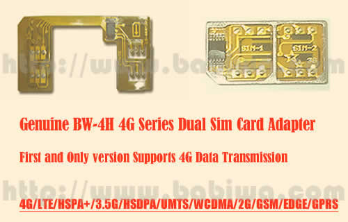 Genuine 4G Dual Sim Card Adapter,for Universal Mobile phones Supporting 4g (HSPA+  and LTE) simcard and 4g data transmission,Also Support 3,5g HSDPA ,3G network(WCDMA UMTS) ,GSM,GPRS EDGE Network.Cutting Type