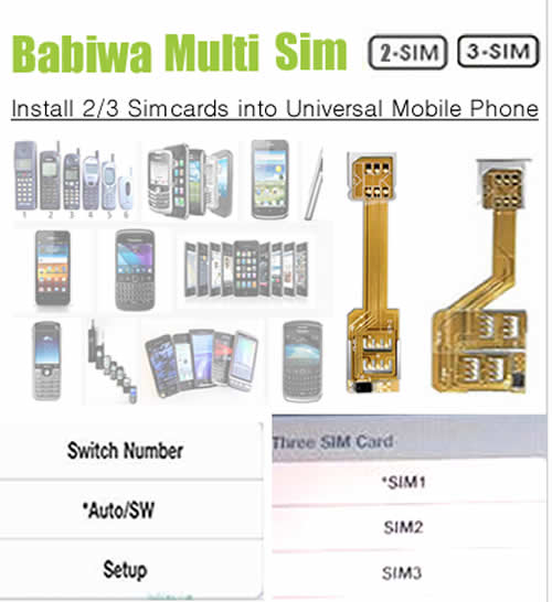 Genuine Multi Sim Card Adapter for Universal BlackBerry Curve 3G 9300 mobile phone.