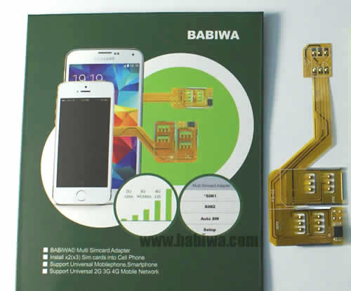 BW-MGL-4  BABIWA© Q series Triple Sim Adapter for Apple Iphone 4/4s,Only Genuine Version, Support Universal 4G FDD-LTE 3.5G HSDPA 3G WCDMA 2G GSM