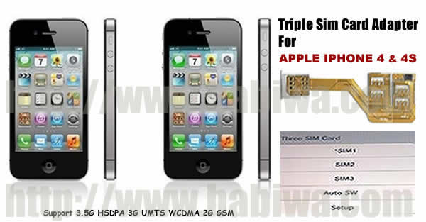 info for 91985 0ece2 Triple Sim Adapter of Apple Iphone 4/4S - 3 Simcard Holder for Apple ...