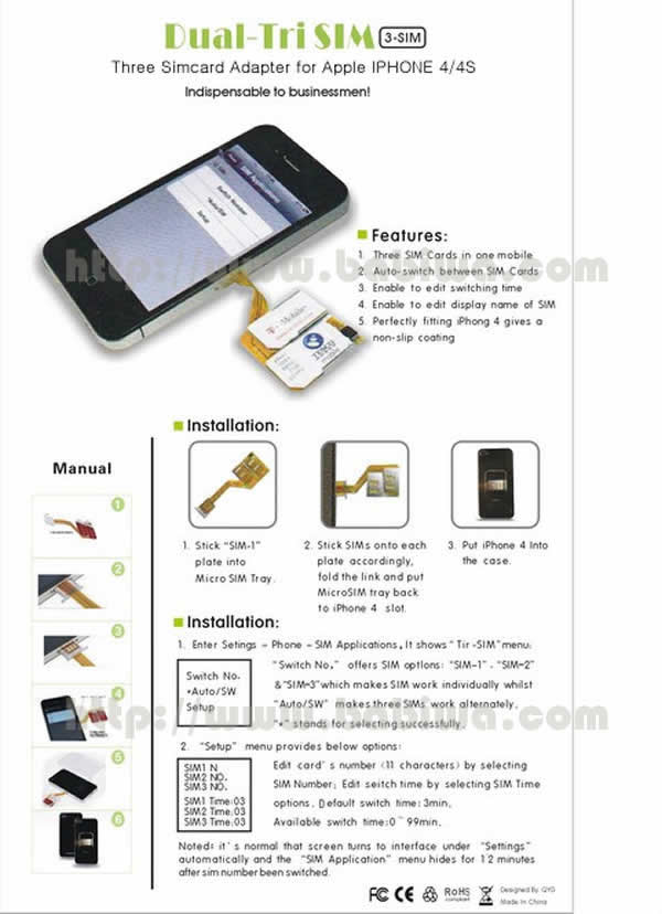 Genuine Q-Series Triple Simcard Adapter for Apple Iphone 4/4s.gsm and wcdma