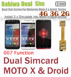 BW-M2N-05K Dual Simcard Adapter series for Motorola MOTO X series and Droid Series Mobile Phone with 007 function,including MOTO X,MOTO X PHONE,MOTO XT1060,MOTO DROID ULTRA,MOTO DROID MINI,MOTO DROID MAXX etc --Support Universal Mobile Network FDD-LTE 4G HSDPA HSPA 3.5G WCDMA 3G GSM 2G
