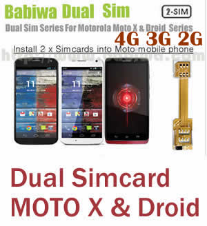 (2 Simcard for MOTO G& MOTO X & MOTO Droid series phone Micro-simcard version) Dual Sim Card Adapter for Motorola MOTO G series,Moto X series and Moto Droid Series Mobile Phone,Two Simcards Holder, Support Universal Network-- FDD-LTE 4G HSDPA HSPA 3.5G WCDMA 3G GSM 2G