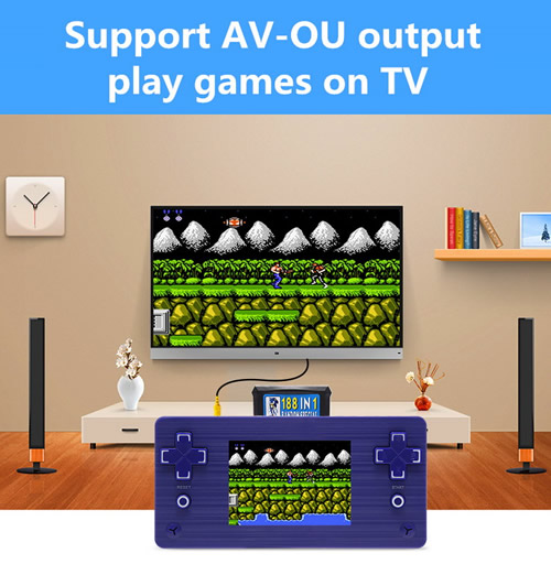 Classic Portable Game Console including over 500 builtin games . Portable Mini Entertainment .Support Game Cartridge.Also support output through AV(audio/video) cable to TV. Compatible with worldwide area standards.