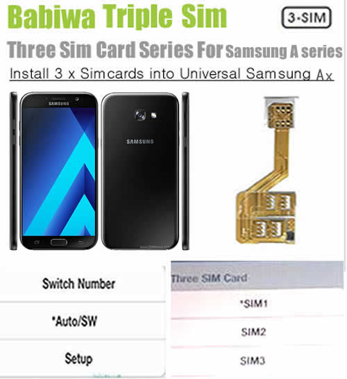 (3 Simcard for Samsung A series phone Micro-simcard version) Triple Sim Card Adapter for Samsung A Series Mobilephone,Three Simcards Holder, Support Universal Network-- FDD-LTE 4G HSDPA HSPA 3.5G WCDMA 3G GSM 2G