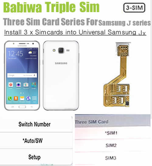 (3 Simcard for Samsung J series phone Micro-simcard version) Triple Sim Card Adapter for Samsung J Series Mobilephone,Three Simcards Holder, Support Universal Network-- FDD-LTE 4G HSDPA HSPA 3.5G WCDMA 3G GSM 2G