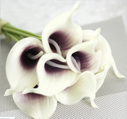 Calla Lily Bridal Wedding Bouquet , White with Purple. Material: Latex . A bunch(includes 10 heads.Babiwa online store since 2002 ,free shipping to worldwide area) .