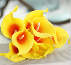 Calla Lily Bridal Wedding Bouquet , Yellow with Orange. Material: Latex . A bunch(includes 10 heads.Babiwa online store since 2002 ,free shipping to worldwide area) .