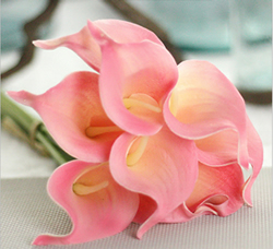 Calla Lily Bridal Wedding Bouquet , Tender Pink. Material: Latex . A bunch(includes 10 heads.Babiwa online store since 2002 ,free shipping to worldwide area) .