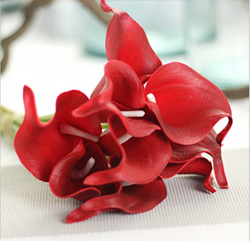 Calla Lily Bridal Wedding Bouquet , Bright Red. Material: Latex . A bunch(includes 10 heads).Babiwa online store since 2002 ,free shipping to worldwide area) .