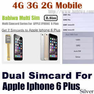 Babiwa series Dual Sim Card Adapter for Apple IPHONE 6 Plus Silver BW-AGL-61H silver