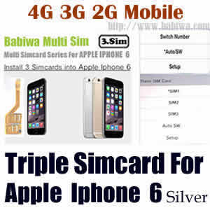 Babiwa series Triple Sim Card Adapter for Apple IPHONE 6 Silver BW-MGL-06H silver