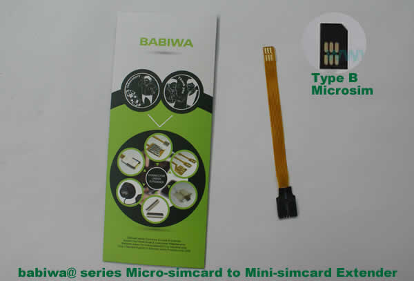 Babiwa@ No.9H Universal Micro-simcard to Minisimcard (microsimcard,nanosimcard) Extension Cable.Support Any devices (brands,models) using Micro simcard in Type B Bevel Direction.also called Micro Simcard Extension Cable,Micro Simcard Linker,Micro Simcard Connector Extender.Universal Micro Simcard Jack Extension Cable,Extender of Micro Simcard Slot,Linker of Micro Simcard Socket,Extender for Micro Simcard Holder.(Free Shipping via Trackable Registered Airmail to Worldwide Area WWW.BABIWA.COM)