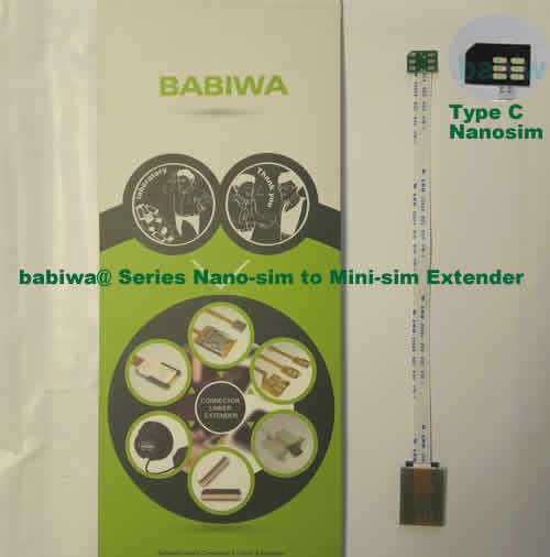 Babiwa@ No.30C Universal Nano-simcard to Minisimcard (microsimcard,nanosimcard) Extension Cable.Support Any devices (brands,models) using Nano simcard in Type C Bevel Direction.also called Nano Simcard Extension Cable,Nano Simcard Linker,Nano Simcard Connector Extender.Universal Nano Simcard Jack Extension Cable,Extender of Nano Simcard Slot,Linker of Nano Simcard Socket,Extender for Nano Simcard Holder.(Free Shipping via Trackable Registered Airmail to Worldwide Area WWW.BABIWA.COM)