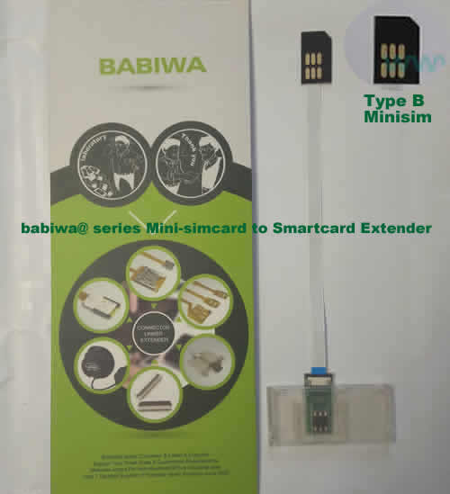 Babiwa@ No.35B Universal Mini-simcard to Smartcard(Big-simcard) Extension Cable.Support Any devices (brands,models) using Mini simcard in Type B Bevel Direction.also called Smartcard tester on Mini-simcard holder, Mini Simcard to Smartcard Extension Cable, Mini Simcard to Smartcard Extender, Mini Simcard Connector to Smartcard Extender .Universal Mini Simcard Jack to Smartcard Linker,Extender of Mini Simcard Slot to Bigcard,Linker of Mini Simcard Socket to Smartcard Holder,Extender for Mini Simc